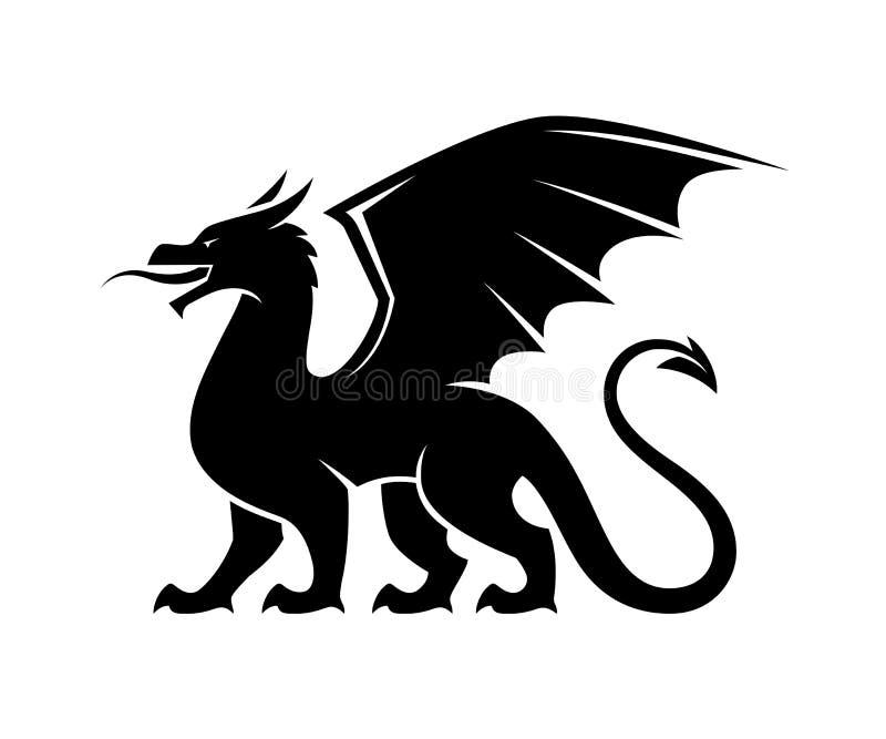 Silueta del negro del dragón stock de ilustración