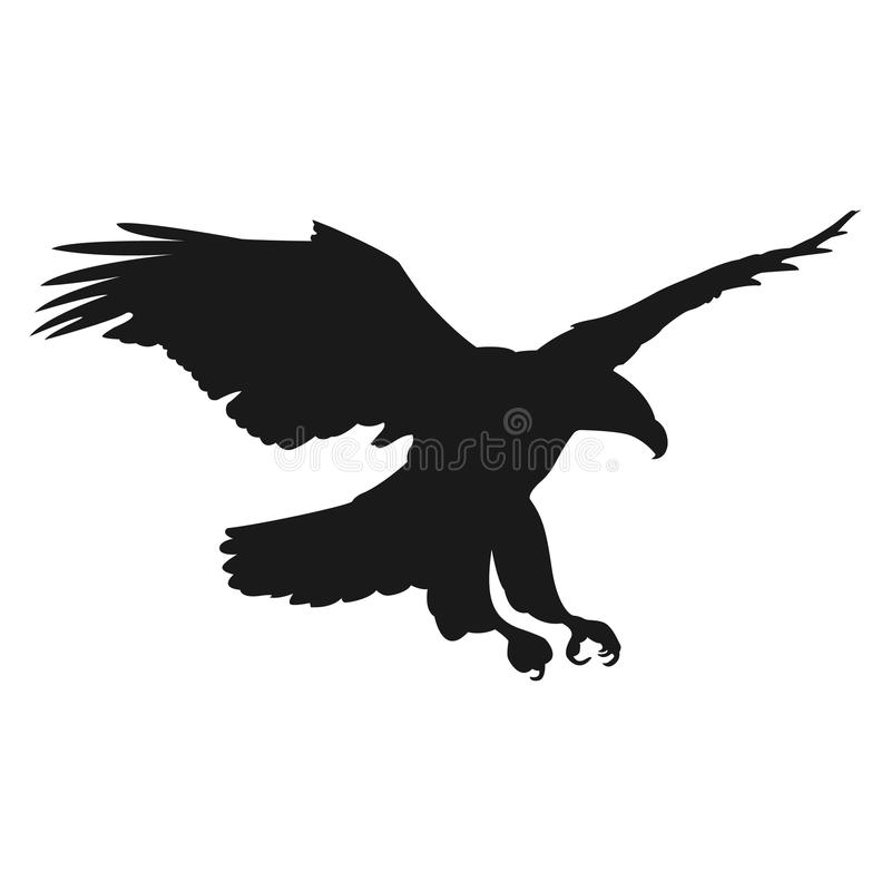 Silueta del negro del ejemplo del vector del águila del vuelo stock de ilustración