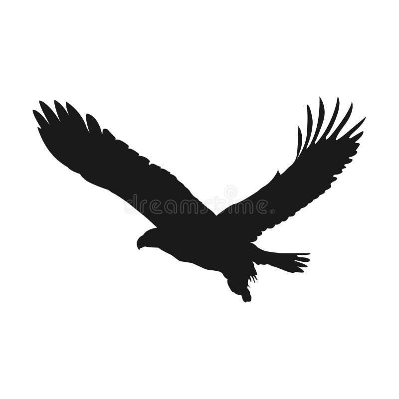 Silueta del negro del ejemplo del vector del águila del vuelo ilustración del vector