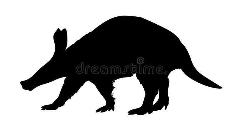 Silueta del negro del ejemplo del vector del cerdo hormiguero stock de ilustración