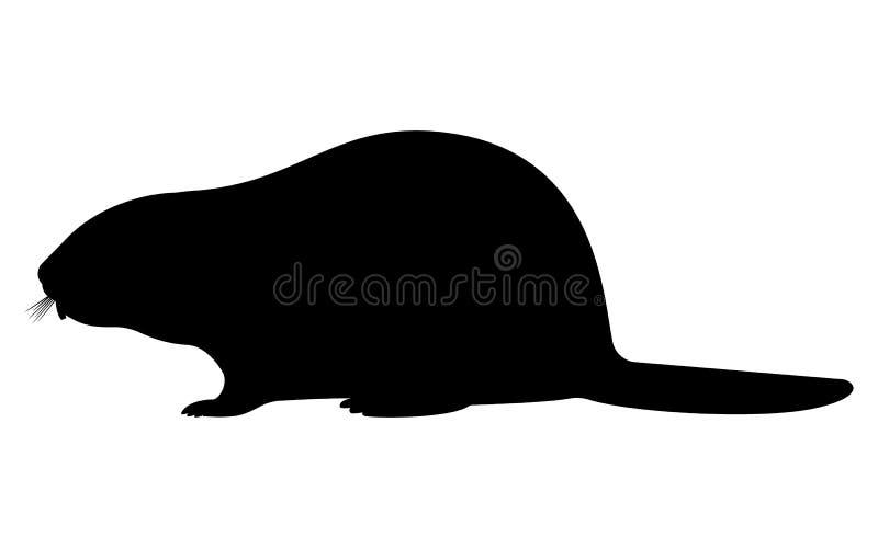 Silueta del negro del ejemplo del vector de un castor libre illustration