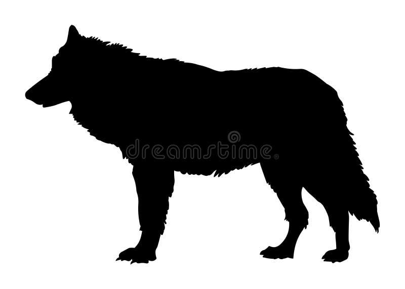 Silueta del negro del ejemplo del vector del lobo stock de ilustración