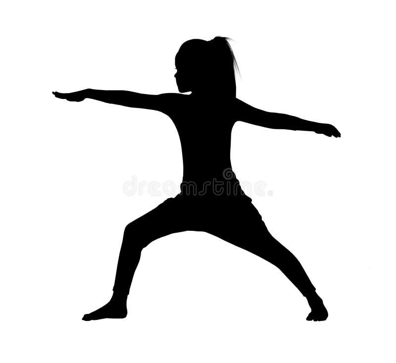 Silueta del negro del ` s de la mujer en la posición de la yoga libre illustration