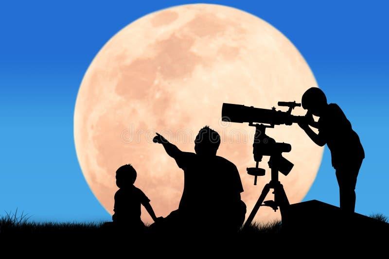 Silueta del niño pequeño que mira a través de un telescopio stock de ilustración