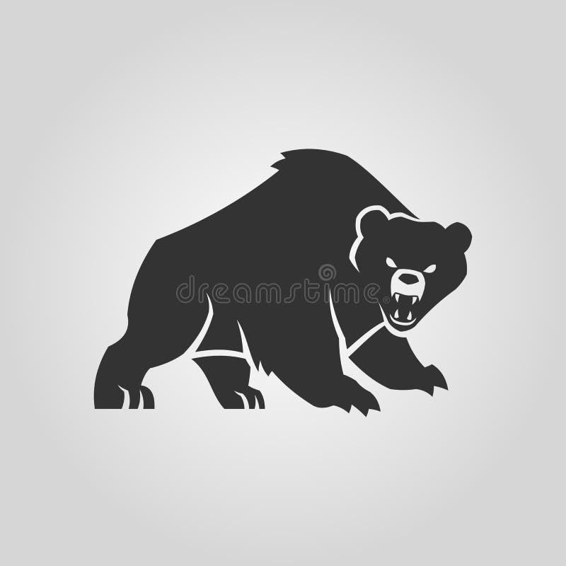 Silueta del oso Oso enojado con la boca abierta ilustración del vector
