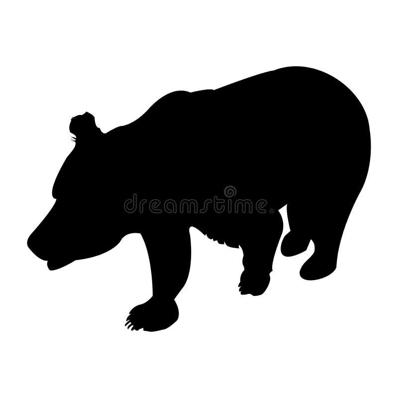 Silueta del oso marrón Ejemplo del vector aislado en un fondo transparente fotos de archivo