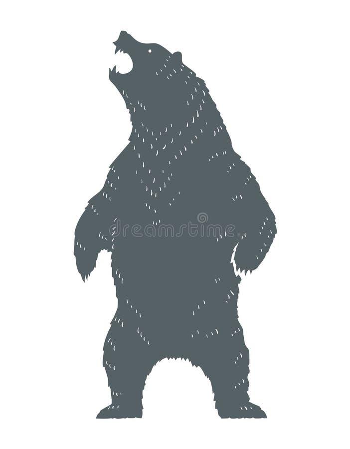 Silueta del oso del rugido ilustración del vector