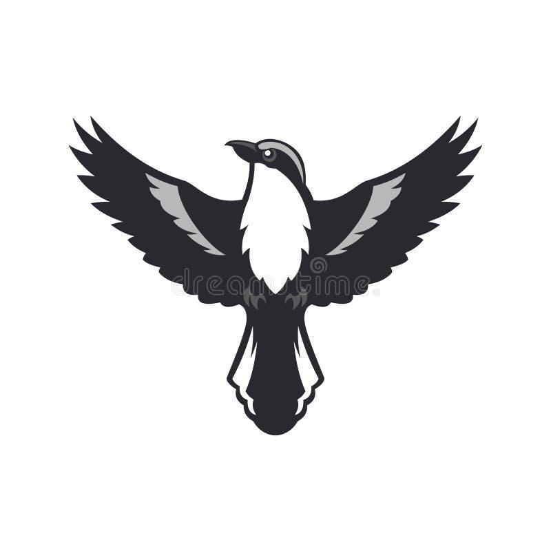 Silueta del pájaro Pájaro del alcaudón con las alas separadas ilustración del vector