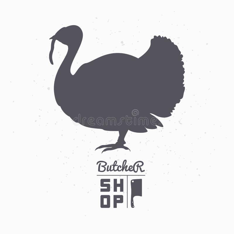 Silueta del pájaro de la granja Carne de Turquía Carnicero Shop libre illustration