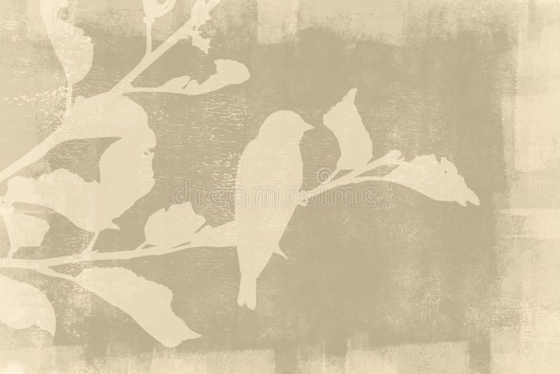 Silueta del pájaro en fondo del Grunge fotos de archivo