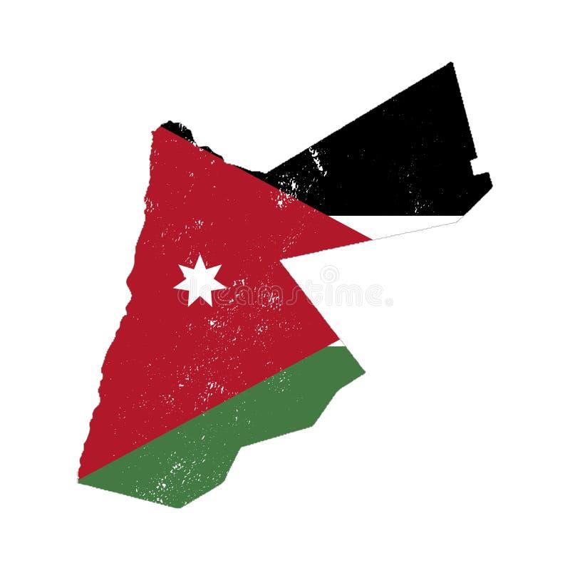 Silueta del país de Jordania con la bandera en el fondo, aislado en blanco stock de ilustración