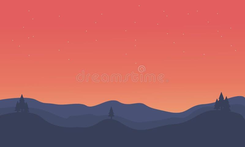 Silueta del paisaje anaranjado del cielo de la colina ilustración del vector