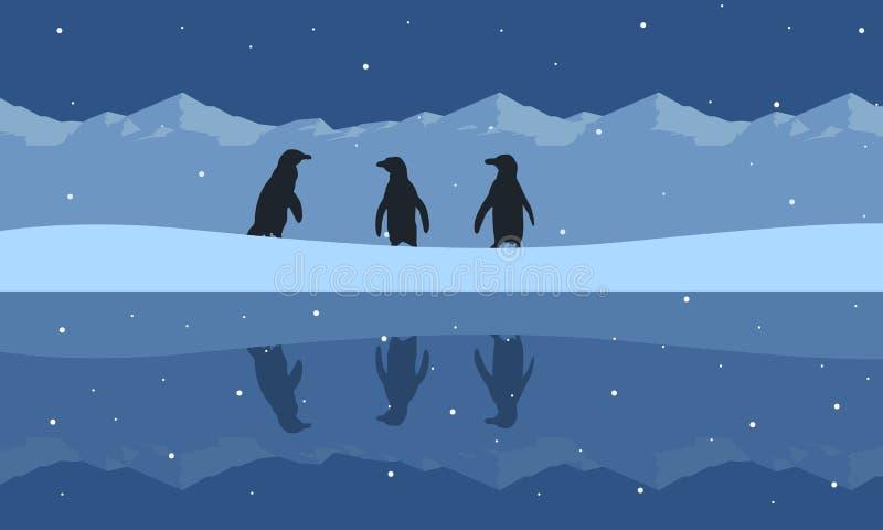 Silueta del paisaje de la belleza del pingüino en la colina de la nieve libre illustration