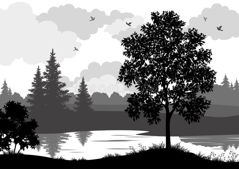 Silueta del paisaje, de los árboles, del río y de los pájaros stock de ilustración