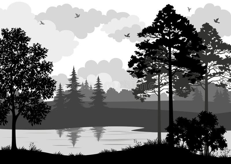 Silueta del paisaje, de los árboles, del río y de los pájaros ilustración del vector