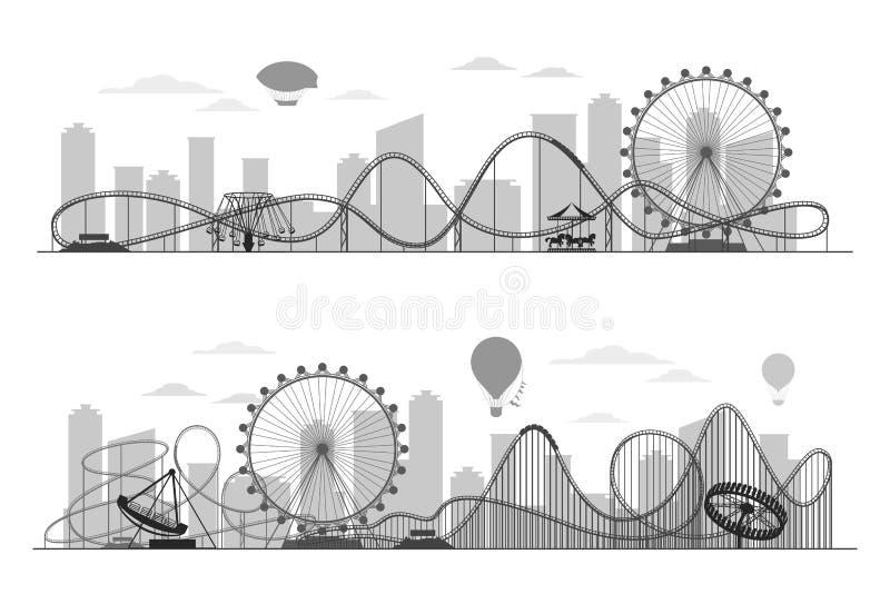 Silueta del paisaje del parque de atracciones de la feria de diversión con la noria, los carruseles y la montaña rusa ilustración del vector