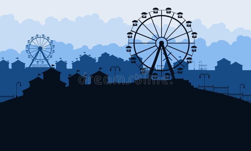 Silueta del paisaje del parque de atracciones en la noche libre illustration