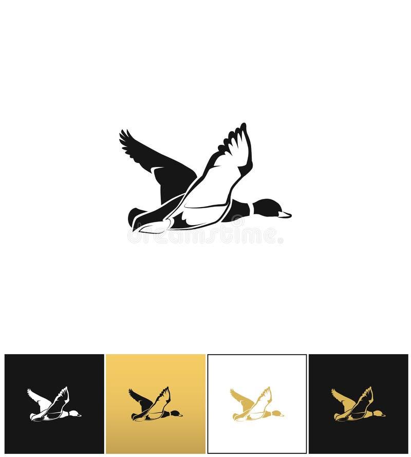 Silueta del pato del vuelo o icono del vector de la blanco de la caza libre illustration