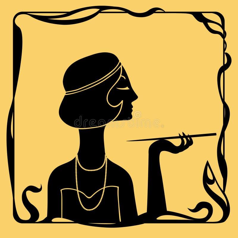 Silueta del perfil de la mujer del art déco libre illustration
