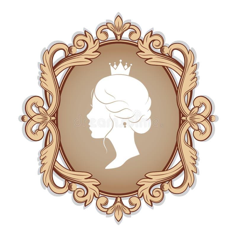 Silueta del perfil de una princesa en marco stock de ilustración