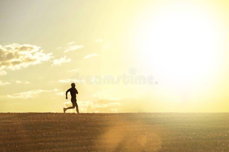 Silueta del perfil del hombre joven que corre en disciplina que activa del campo a través del entrenamiento del campo en puesta d foto de archivo libre de regalías