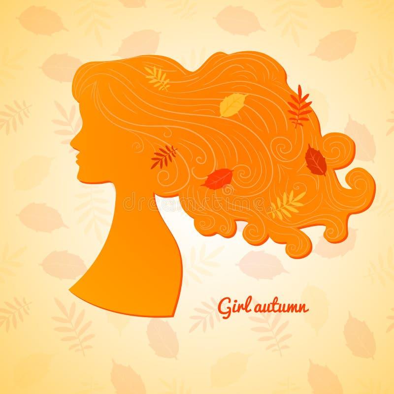 Silueta del perfil femenino con las hojas en ella ilustración del vector