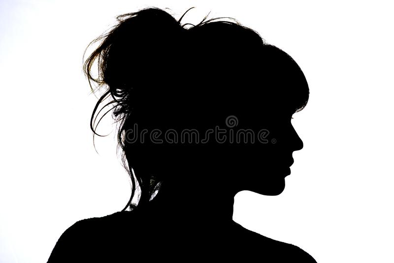 Silueta del perfil hermoso de la belleza y de la moda del concepto de la cara de la mujer fotografía de archivo libre de regalías