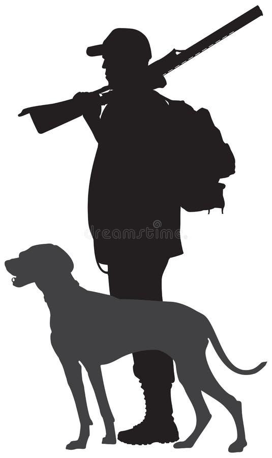 Silueta del perro y del cazador de caza, Weimaraner libre illustration