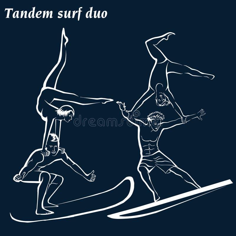 Silueta del personas que practica surf Dúo acrobático acrobático de la resaca que practica surf stock de ilustración