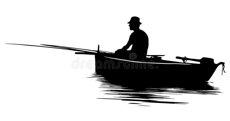 Silueta del pescador stock de ilustración