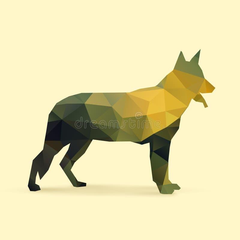 Silueta del polígono del perro stock de ilustración