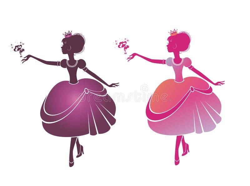 Silueta del princesas hermosas ilustración del vector