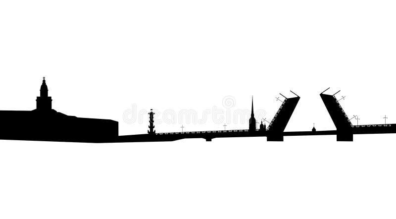 Silueta del puente exhausto del palacio en St Petersburg imagen de archivo