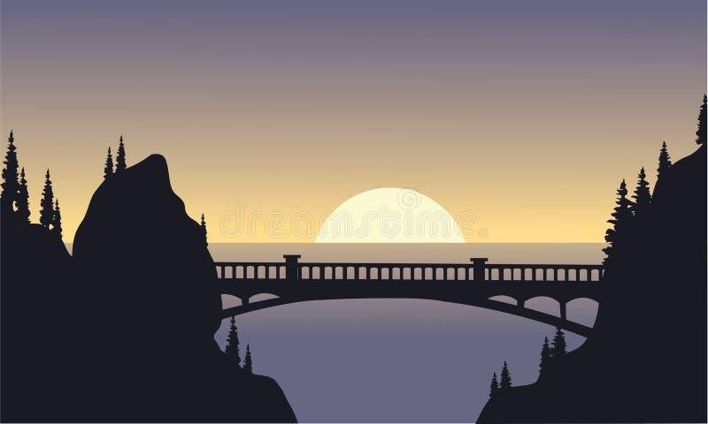 Silueta del puente y de la luna ilustración del vector