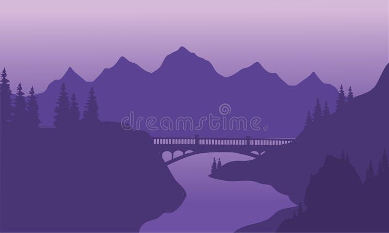 Silueta del puente y de la montaña de la visión stock de ilustración