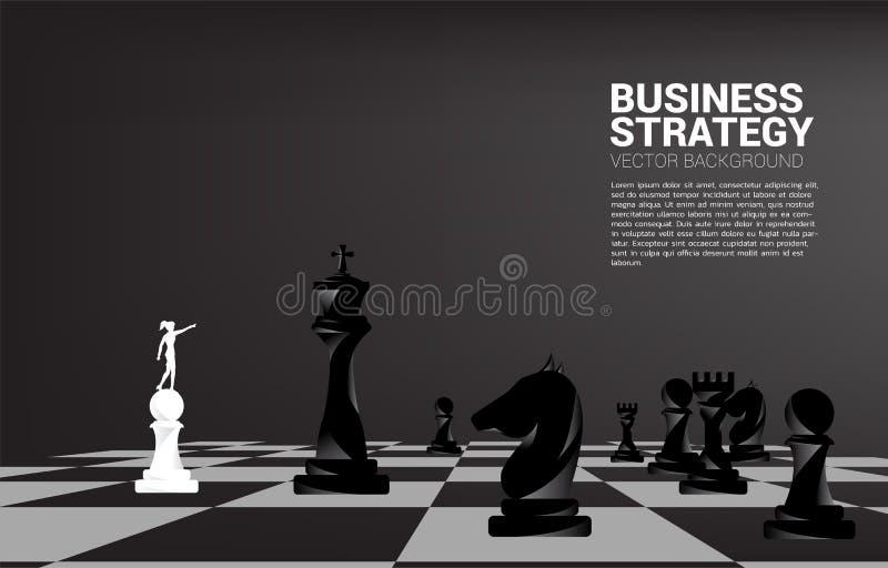Silueta del punto del hombre de negocios adelante con el pedazo de ajedrez ilustración del vector