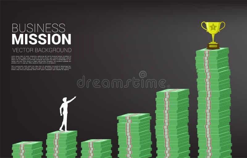 Silueta del punto del hombre de negocios hasta premio de oro de la taza del trofeo en la pila de moneda ilustración del vector