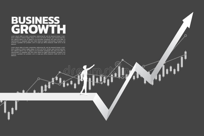 Silueta del punto del hombre de negocios más arriba del gráfico stock de ilustración