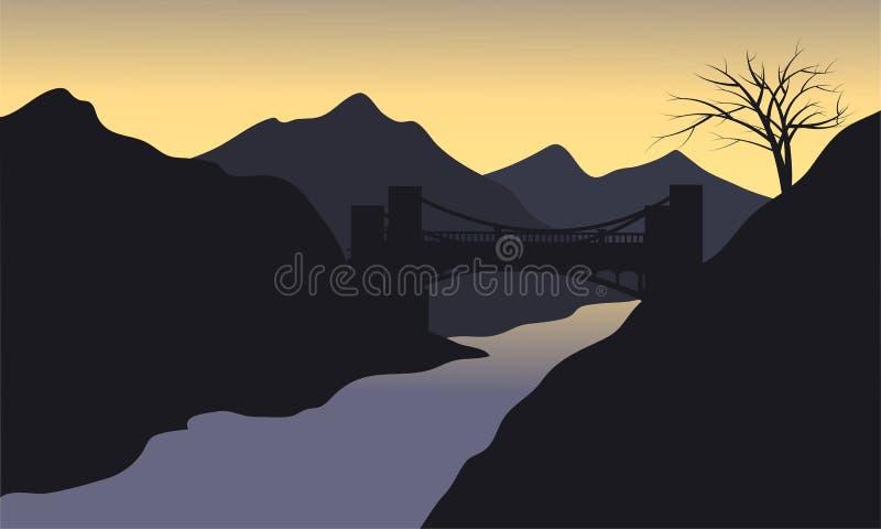 Silueta del río con el fondo negro stock de ilustración