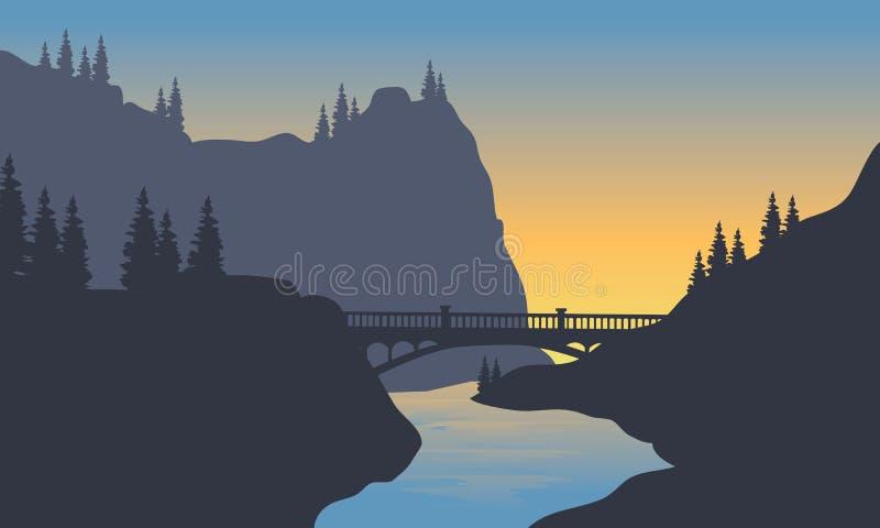 Silueta del río y del puente ilustración del vector