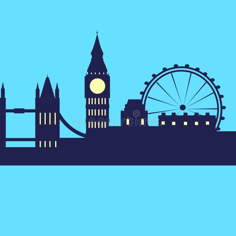 Silueta del rascacielos de la ciudad del horizonte del extracto de Londres ilustración del vector