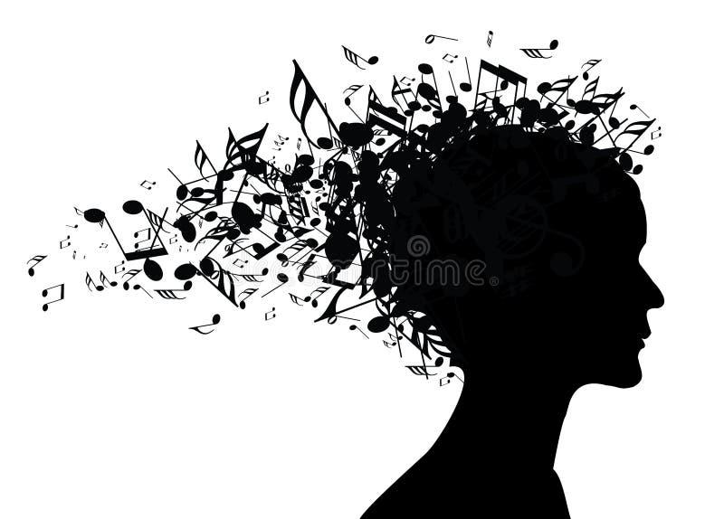 Silueta del retrato de la mujer de la música ilustración del vector