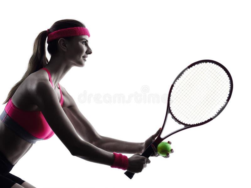 Silueta del retrato del jugador de tenis de la mujer imagen de archivo