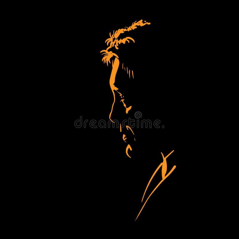 Silueta del retrato del hombre en contraluz Vector de Avatar libre illustration