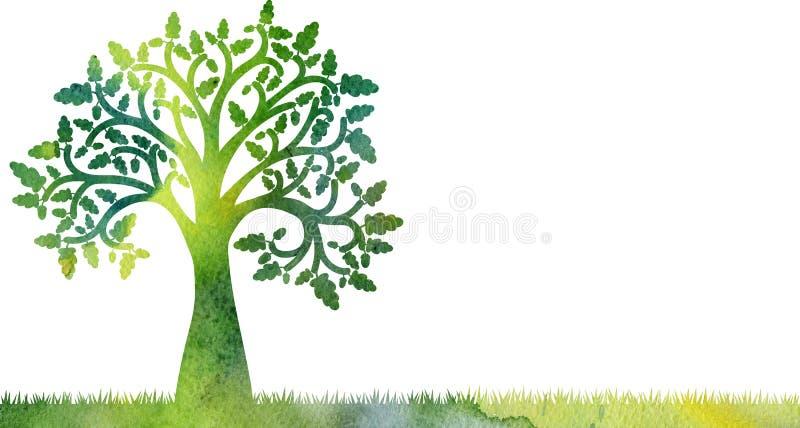 Silueta del roble con las hojas y la hierba stock de ilustración