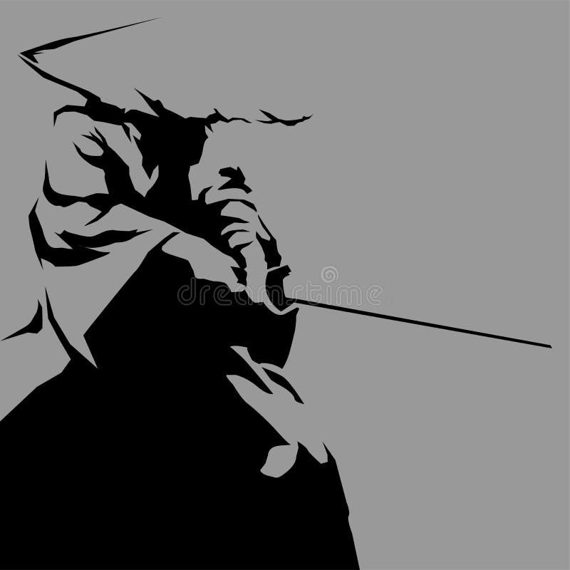Silueta del samurai foto de archivo libre de regalías