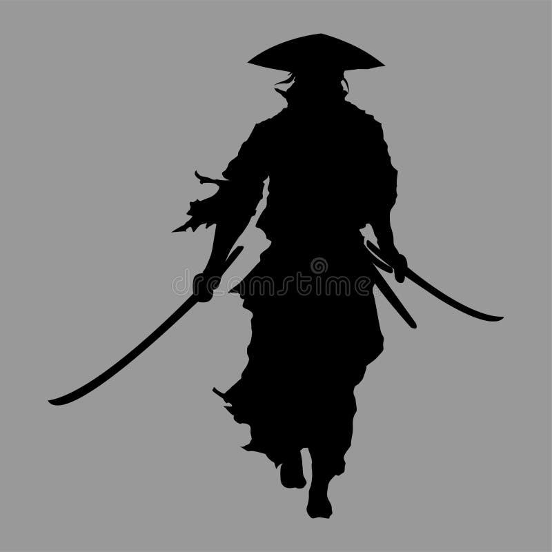 Silueta del samurai stock de ilustración