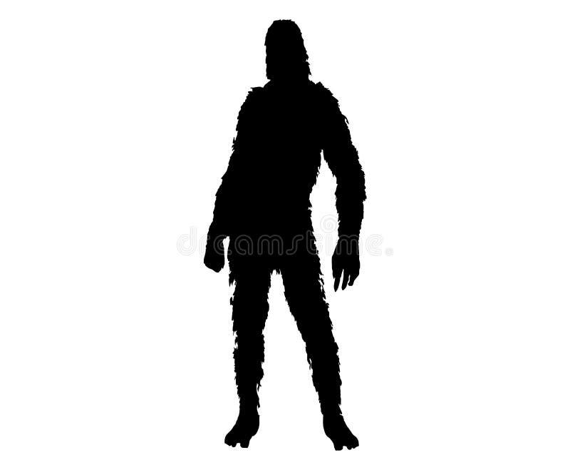 Silueta del sasquatch de Bigfoot ilustración del vector