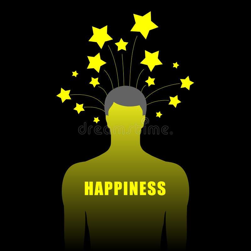 Silueta del ser humano con las estrellas ilustración del vector
