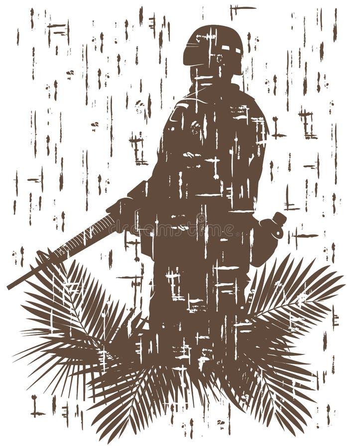 Silueta del soldado en la acción stock de ilustración